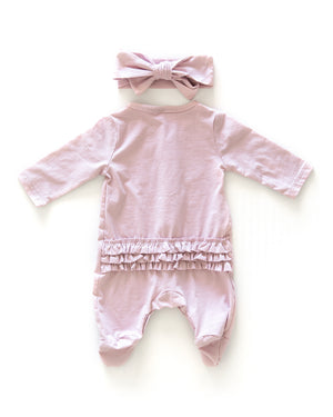 Ruffle Footed Coverall in Lilac - Reverie Threads