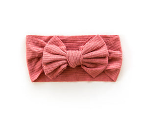 Ribbed Bow Headband in Coral Red - Reverie Threads