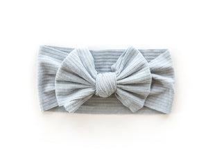 Ribbed Bow Headband in Vintage Blue - Reverie Threads