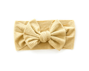 Ribbed Bow Headband in Mustard Yellow - Reverie Threads