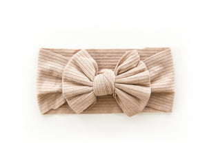 Ribbed Bow Headband in Caramel - Reverie Threads