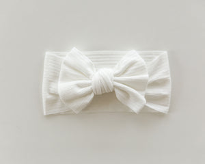 Ribbed Bow Headband in White - Reverie Threads