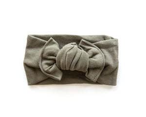 Ribbed Chunky Knot Headband in Olive Green - Reverie Threads