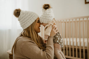Mommy & Me Cozy Knit Beanie in Ivory - Reverie Threads