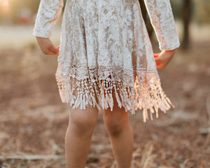 Indi Boho Velvet Dress in Beige