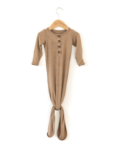 Buttery Soft Knotted Gown in Brown - Reverie Threads