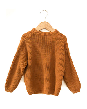 Tansy Knit Sweater in Rusty Brown - Reverie Threads