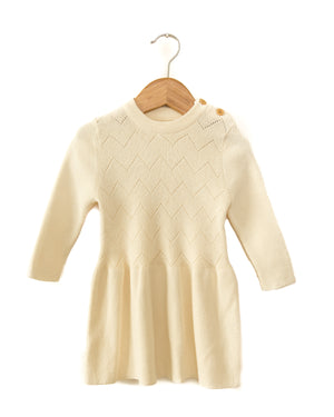 Janie Knit Dress in White - Reverie Threads