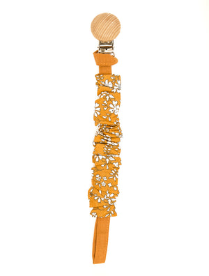 Amara Pacifier Clip in Autumn Orange Floral - Reverie Threads
