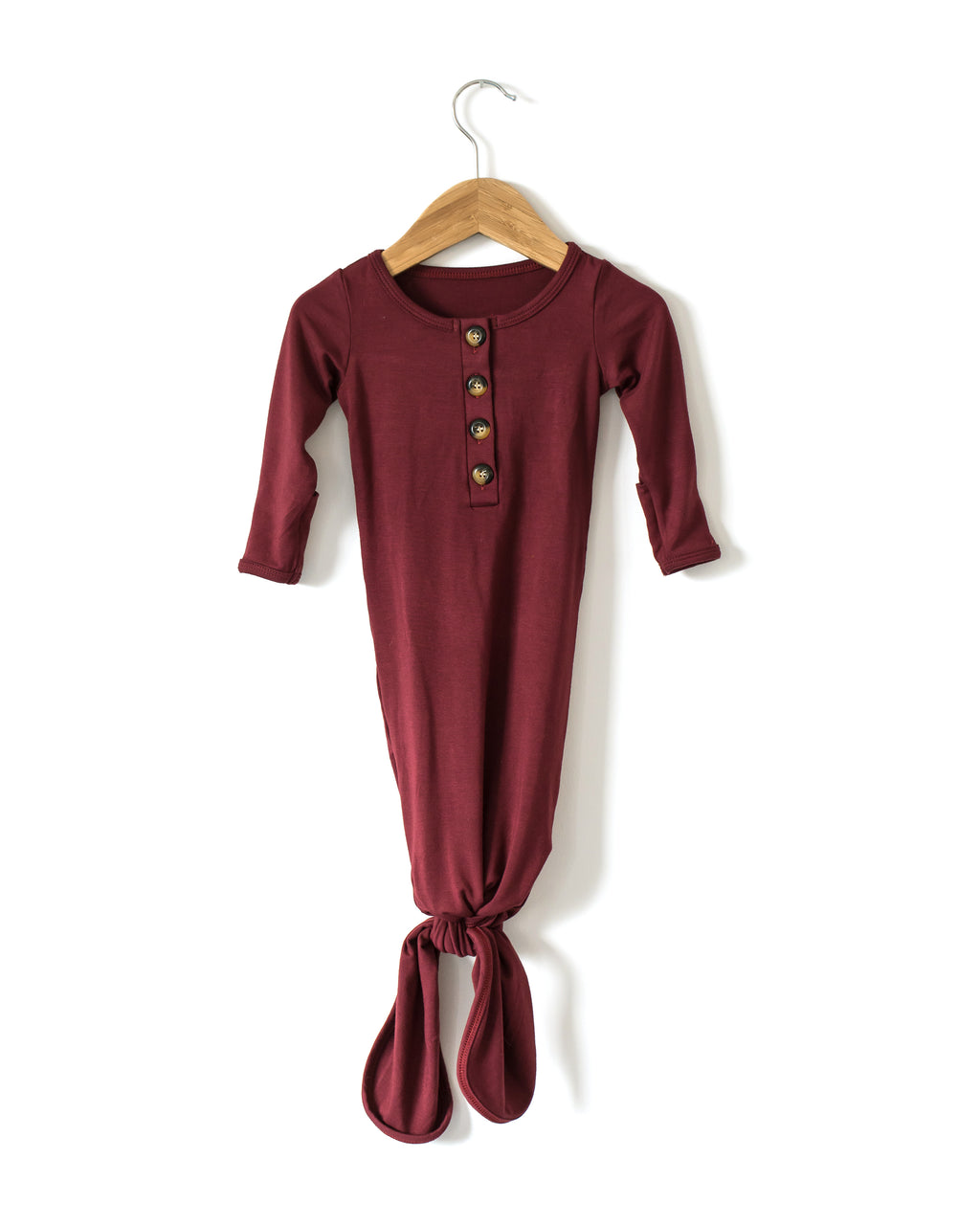 Buttery Soft Knotted Gown in Maroon - Reverie Threads