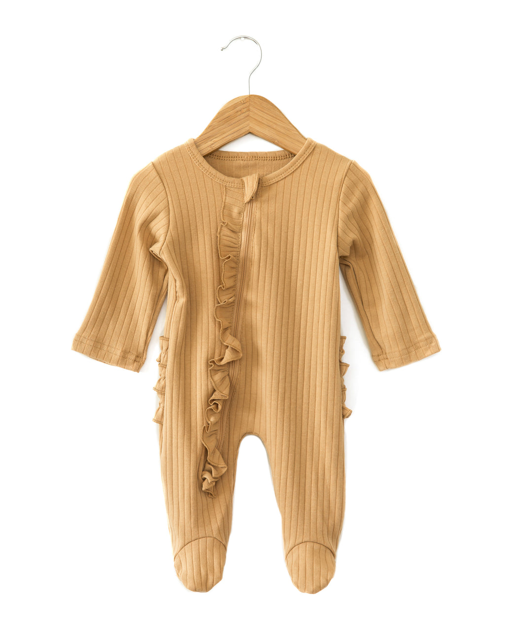 Lux Ruffle Coverall in Caramel - Reverie Threads