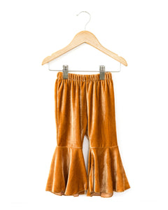 Velvet Bell Bottom Pants in Mustard - Reverie Threads