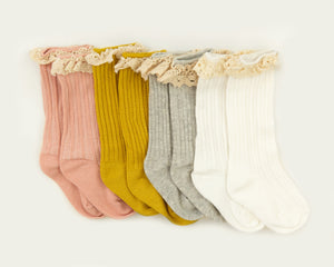 Vienna Lace Socks in Mustard - Reverie Threads