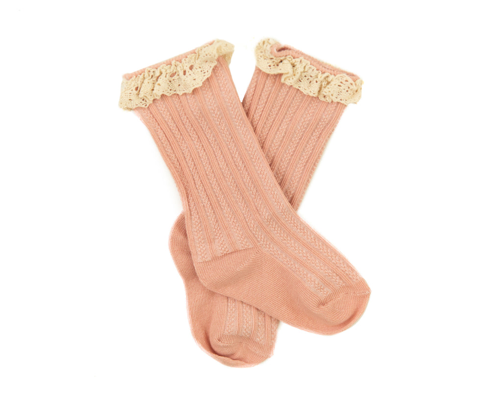 Vienna Lace Socks in Pink - Reverie Threads