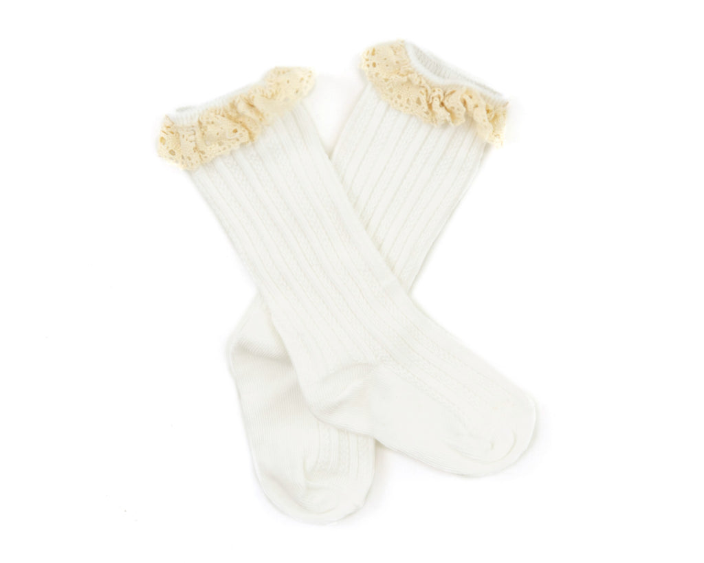 Vienna Lace Socks in White - Reverie Threads