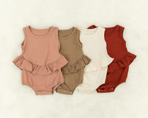 Karissa Ruffle Romper in Maroon - Reverie Threads