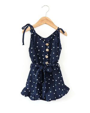 Thea Romper in Navy Blue Hearts - Reverie Threads