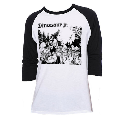 Dinosaur Jr Mountain Man design on a Baseball Shirt by Bingo Merch