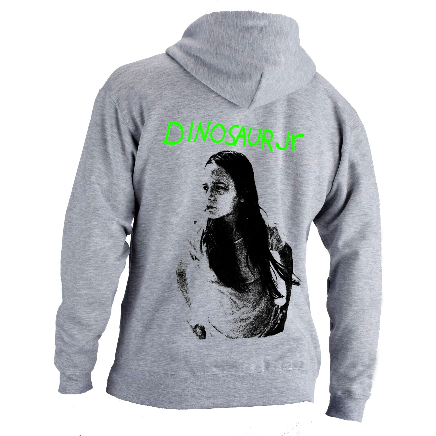 Dinosaur Jr Green Mind design on a grey Hoodie T-shirt