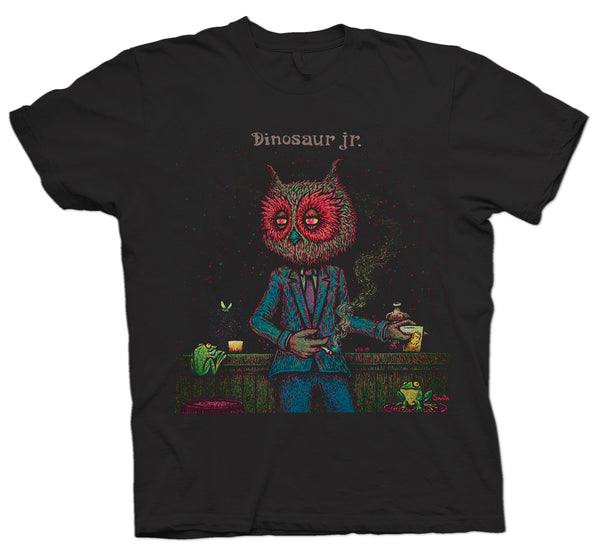 Dinosaur Jr Night Owl design on a black Tshirt from Bingo Merch