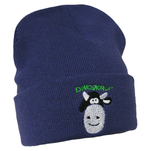 Dinosaur Jr Cow design on a purple knit Beanie Hat