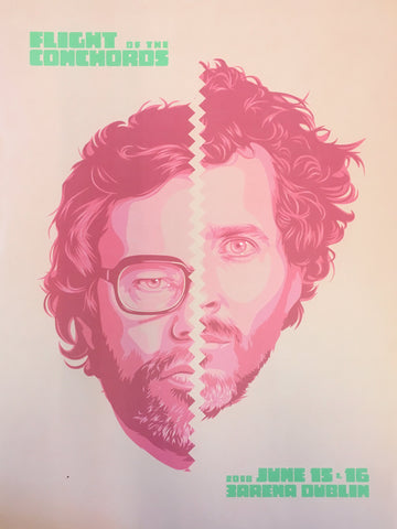 Flight of the Conchords Faces Poster Dublin Poster- Bingo Merch Official Merchandise Shop Official