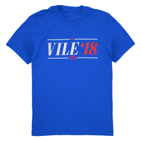 Kurt Vile Vile '18 design on royal blue Tshirt from Bingo Merch