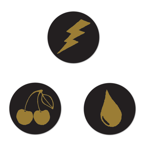 Tear, Lightning Bolt, Cherry Button Set