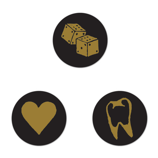 Tooth, Heart, Dice Button Set