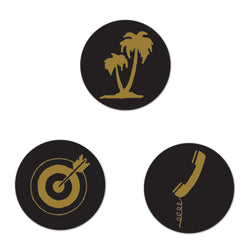 Target, Phone, Palm Tree Button Set