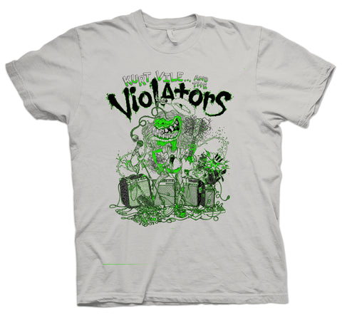 Kurt Vile Violators design on grey Tshirt from Bingo Merch