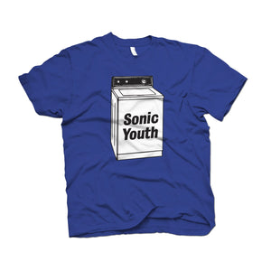 Sonic Youth Washing Machine design on a royal blue t-shirt from Bingo Merch Official Merchandise