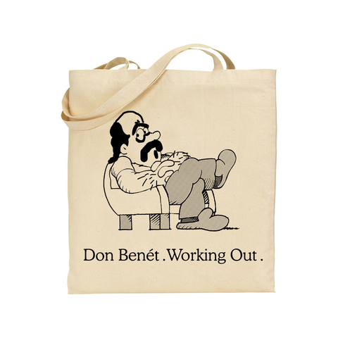Donny Benet Working Out design on a natural canvas Totebag from Bingo Merch