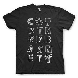 Courtney Barnett Tropical design on a black Tshirt from Bingo Merch