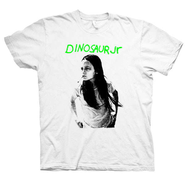 Dinosaur Jr Green Mind design on a white Tshirt