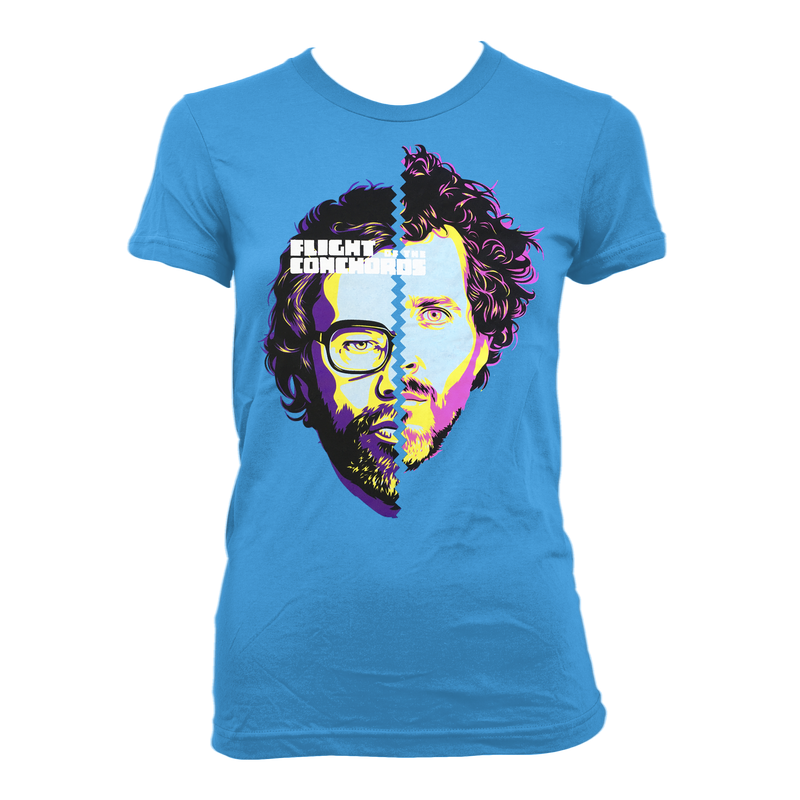 Flight of the Conchords Split Face - girls T-Shirt- Bingo Merch Official Merchandise Shop Official
