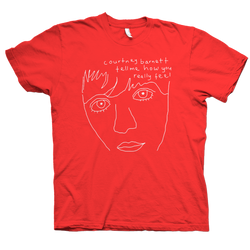 Courtney Barnett album Tell Me Line Drawing design on a red Tshirt from Bingo Merch