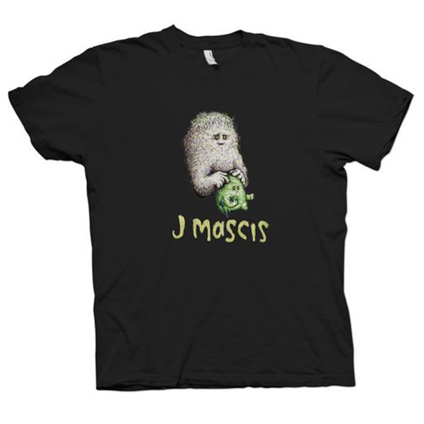 J Mascis Little Guys design on a black Tshirt from Bingo Merch