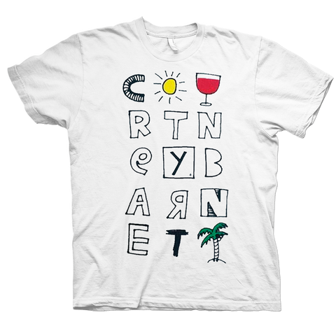 Courtney Barnett Tropical Colour design on a white Tshirt from Bingo Merch