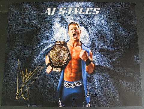 AJ Styles Pose 3 11x14 Signed Photo COA