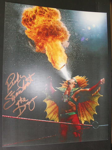 "Ricky Steamboat Pose 4 Inscribed ""The Dragon"" 11x14 Signed Photo"