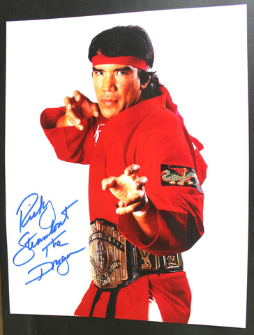 "Ricky Steamboat Pose 1 Inscribed ""The Dragon"" 11x14 Signed Photo"
