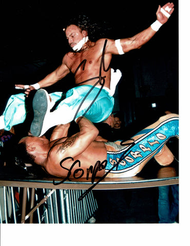 Sabu & 2 Cold Scorpio Pose 2 Dual Signed Photo COA