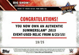 WWE Big Show 2016 Topps Event Used SummerSlam Mat Relic Silver #19/25