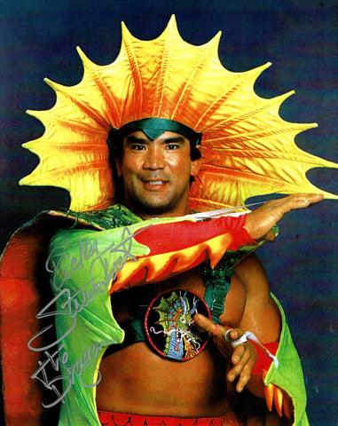 "Ricky Steamboat Pose 1 Inscribed ""The Dragon"" (Silver Ink) Signed Photo"
