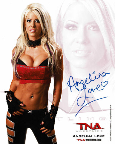 Angelina Love Official TNA Promo 1 (Blue Ink) Signed Photo COA