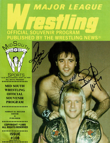 Mid South Program #108 Signed Rock N Roll Express Robert Gibson & Ricky Morton