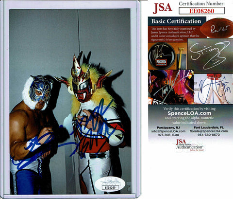 Tiger Mask & Jushin Liger Dual Signed Candid Photo COA JSA