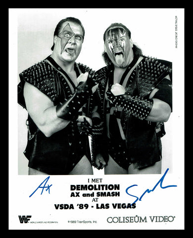 Demolition Ax & Smash Pose 13 Dual Signed Photo COA