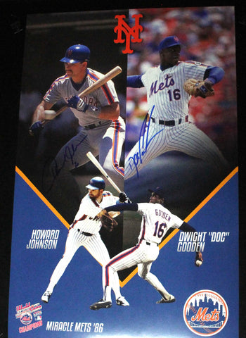 Dwight Gooden & Howard Johnson Dual Signed 11x17 Photo COA